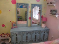 TWO dresser set redo!!  You HAVE to check out the wood detail on this one!  Full tutorial plus tons of tips and ideas!  #krylon blue ocean breeze #little girls room #diy furniture #blue or teal dresser