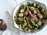 Picture of Pan Roasted Brussels Sprouts with Bacon recipe: Add apple cider, garlic, and parmesan cheese