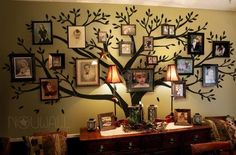 I adore this idea for the home. I think it would be perfect for a semi-formal living or sitting room. Seems fairly easy too. Paint using stencils then hang your own pictures. Voila - stunning! *on a side note, I realize the source is for decals, but I really love the idea of customizing the tree to fit your needs and style*