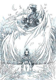 Aerith & Zack (Final Fantasy VII) - Commission-NightmareSoulja by ~eguana