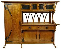 Gustave Serrurier-Bovy buffet, oak with iron Art Nouveau strapwork hinges.