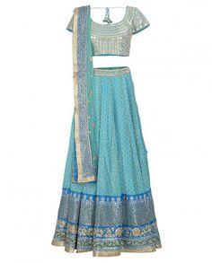 66ebd2b5306 Embellished Sky Blue Lengha Set and Potli Bag - Ritu Kumar - Wedding -  Occassion - Wedding