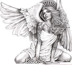 Kneeling woman with angel wings glances skyward with a tear in her eye. Her head is crowned by a crest of heaven. Title: Crying Angel Artist: Mouse Lopez Made-to-order giclee fine art reproductions on