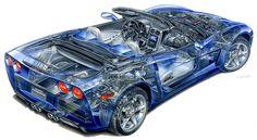 2005 Corvette Convertible - Illustration credited to David Kimble Cutaway, 2005 Chevrolet Corvette, Chevy, Corvette America, Corvette Convertible, Car Hacks, Car Engine, Hot Cars, Motor Car