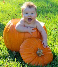 Baby in pumpkin, My sweet boy loving the pumpkin before his first Halloween :-)