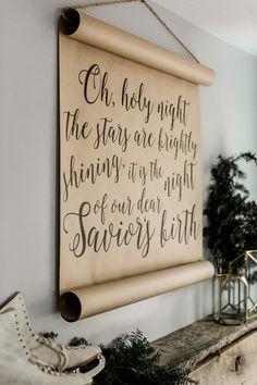 Oh Holy Night Calligraphy Scroll by Cottonwood Shanty, Farmhouse Scroll, Christmas Scroll, farmhouse wall decor   www.cottonwoodshanty.com/blog