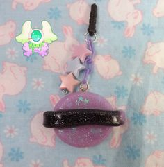 Kawaii Saturn Dust Plug  Phone Strap  Keychain  by SammysJewels