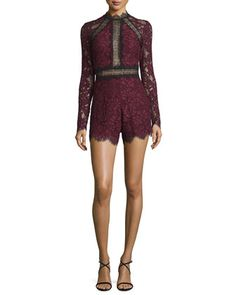 Eva+Long-Sleeve+Lace+Romper,+Plum+by+Alexis+at+Neiman+Marcus.