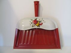 Decoware Metal Dustpan Red Fruit Apple Pear Cherries Midcentury Vintage with <3 from JDzigner www.jdzigner.com