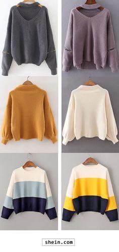 Choker V Neck Zipper Detail Sweater & Ribbed Lantern Sleeve Loose Knitwear & Color Block Drop Shoulder Loose Sweater