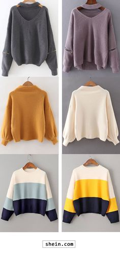 Choker V Neck Zipper Detail Sweater & Ribbed Lantern Sleeve Loose Knitwear & Color Block Drop Shoulder Loose Sweater