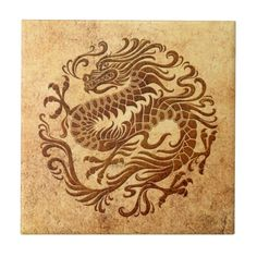 Traditional Vintage and Worn Chinese Dragon Circle Ceramic Tiles
