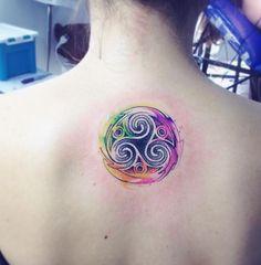 Watercolor Trisquel Tattoo
