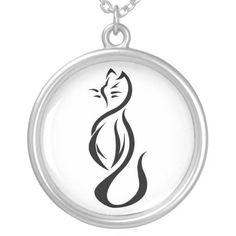Stylized Black Cat Necklace