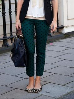 emerald polka dot pants with leopard flats