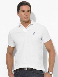 Ralph Lauren Men\u0026#39;s Classic-Fit Mesh Short Sleeve Polo Shirt White http://