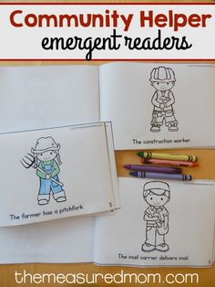 This set of community helpers emergent readers comes in three levels of difficulty! They're perfect for differentiating in preschool or kindergarten. Community Helpers Worksheets, Community Helpers Kindergarten, Kindergarten Social Studies, School Community, In Kindergarten, Community Helpers Crafts, Communities Unit, Community Workers, Literacy Activities
