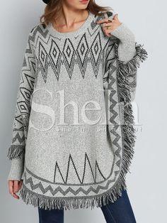 Grey Long Sleeve Geometric Print Tassel Sweater 23.99