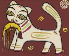 JAMINI ROY (1887-1972) | Untitled (Cat with Shrimp) | Modern & Contemporary Indian Art