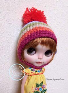 BLYTHE Pullip rainbow hat helmet pompom