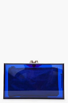 Charlotte Olympia Blue Transparent Perspex Spider-clasp Pandora Box Clutch for women | SSENSE