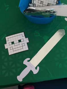 Color your own Minecraft masks and swords from Oriental Trading. The kids used tin foil on the swords to make them silver. These were a HUGE hit. Minecraft Birthday Party, 10th Birthday Parties, 7th Birthday, Birthday Ideas, Minecraft Mask, Mask For Kids, Oriental Trading, Birthdays, Swords