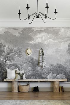 Home Design, DIY and Travel Inspiration Diy Furniture Projects, Easy Diy Projects, Woodworking Projects, Jenna Sue, Cypress Wood, Living Room Update, Entrance Ways, Rustic Bench, Mural Wall