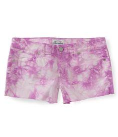 Tie-Dye Denim Shorty Shorts from Aéropostale