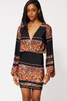 Cross Over Patterned Mini Dress – First Impression UK