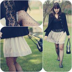 Look romântico com saia rodada lilás com renda embaixo blusa preta de renda com manga comprida casaqueto preto meia calça poá e sapatilha