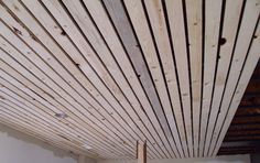 Wood Slat Solution For Basement Ceiling Yup Easiest And Nicest