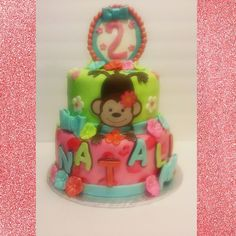 bright colored monkey cake!
