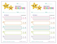 {Free Printable} New Year's Resolutions Lists — Hello, Cuteness!