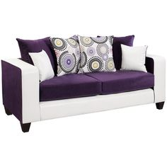 Riverstone Implosion Purple Velvet Sofa - Flash Furniture reinvent the standard living room decor with this ultra-modern designed sofa. This chic sofa features soft velvet seating, decorative toss pillows and raised tapered legs. Purple Sofa, Purple Velvet, Black Velvet, Purple Rugs, Green Sofa, Purple Furniture, Furniture Ideas, Sofa Furniture, White Furniture