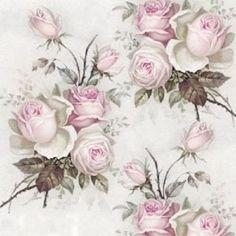 Sagen Vintage Roses 2 33x33 cm - Rosa Rosen von Nostalgie Home auf DaWanda.com