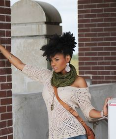 I adore off the shoulder sweaters and the neck warmer/scarf deal and OF COURSE the hair.
