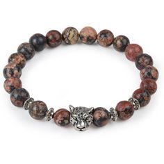 Natural Stone Leopard Charm Bracelet