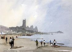 <b>Edward Wesson (1910-1983)</b> <br /> watercolour, <br /> Coastal town, <br /> signed, <br /> <i>10 x 14in.</i>