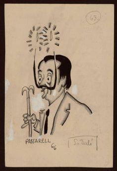 Salvador Dalí. Pintor, decorador i escriptor. - Caricatures originals per a l'edició de l'obra Personatges, personatgets i personatjassos :: Materials gràfics (Biblioteca de Catalunya)