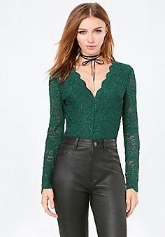30 Lace+Long+Sleeve+Bodysuit #bebe #pinyourwishlist