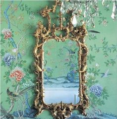 Asian wall paper & mirror
