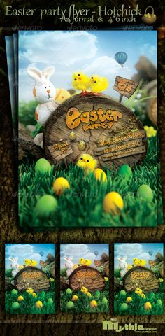 Easter Nature Party Flyer  Hotchick club — Photoshop PSD #club #spring • Available here → https://graphicriver.net/item/easter-nature-party-flyer-hotchick-club/1767807?ref=pxcr