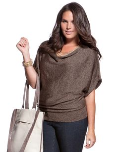 Burnished Drape Neck Top - Women's Sweaters & Plus Size Sweaters - eloquii by The Limited