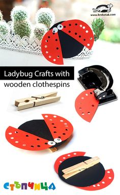 Ladybug Crafts with wooden clothespins