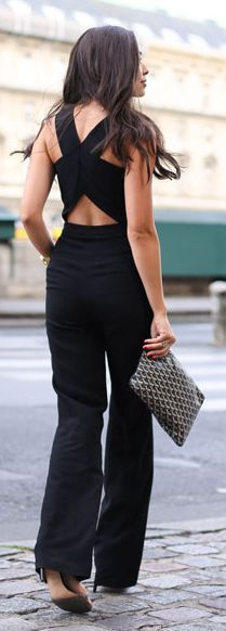 Black Crossing Back Jumpsuit by With Love From Kat | Women's Clothing | Fashion | Dresses | Skirts | Jeans | Cute Outfits | Tops | Pants | Jackets | SHOP @ CollectiveStyles.com