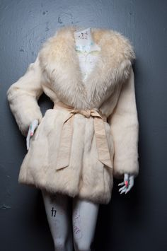Vintage Rabbit Fur Coat with Wool Collar by NeatoVintage on Etsy, $155.00
