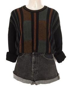 True Vintage Muster Pulli Pullover Strick Knit Wear Schwarz Oversize Urban  Street Style 39857b3a4