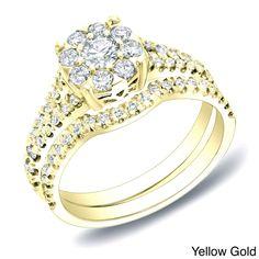 Auriya 14k Gold 3/4ct TDW Diamond Bridal Ring Set (H-I, SI1-SI2) (Yellow Gold-Size 7.5), Women's