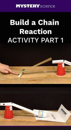 Chain Reaction Activity - free hands-on science activity for or grade elementary kids. Part of a complete unit on Energy: Energy, Motion, & Electricity. Meets Next Generation Science Standards (NGSS). Science Projects For Kids, Science Experiments Kids, Science Fair, Science Lessons, Science For Kids, 4th Grade Science, Preschool Science, Elementary Science, Teaching Science