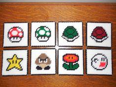 Mario+Inspired+Coasters+Set+of+8+by+KraftyKAW+on+Etsy,+$48.00